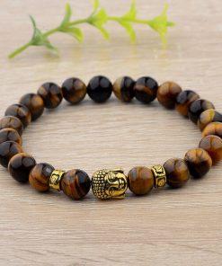 Tiger Eye Beads Buddha Head Bracelet