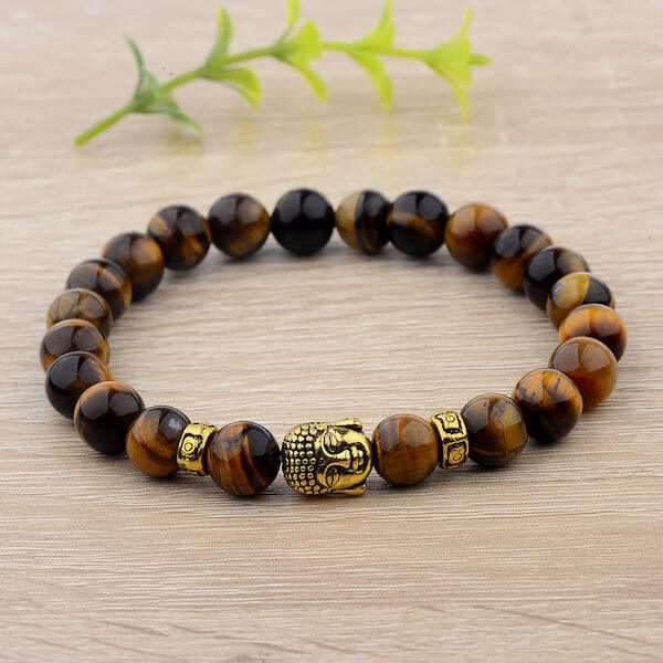 Tiger Eye Beads Buddha Head Bracelet