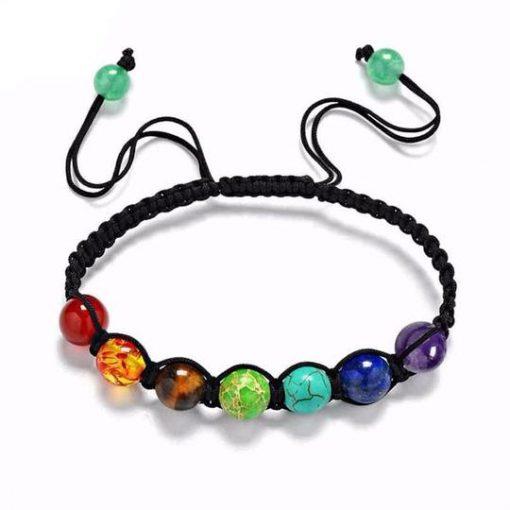 adjustable cord 7 chakra beads bracelet