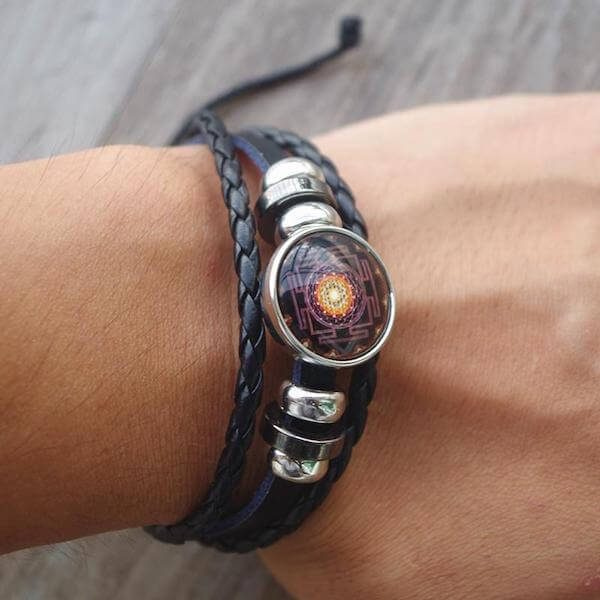 MULTILAYER LEATHER SRI YANTRA BRACELET