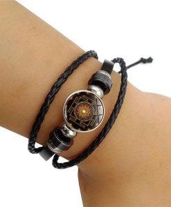sacred sri yantra multilayer leather bracelet