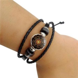 sacred sri yantra multilayer leather bracelet