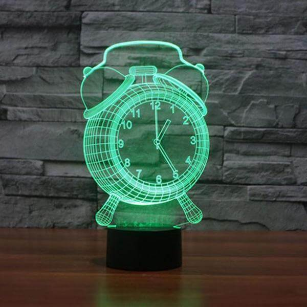 Hologram Alarm Clock 3D Lamp