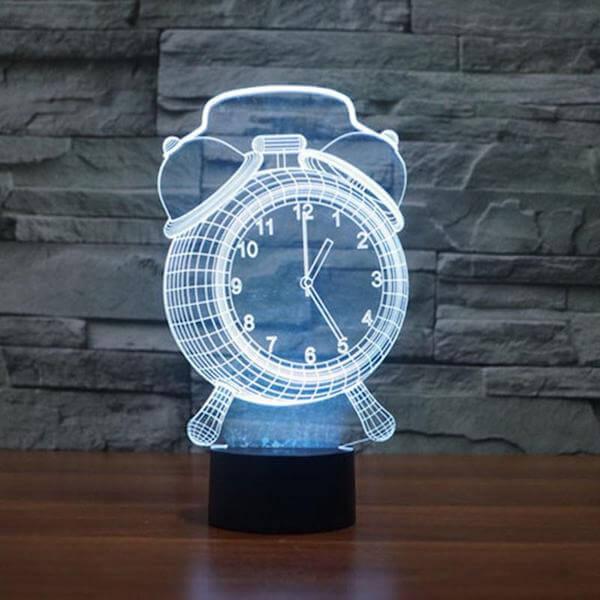Alarm Clock - 3D Optical Illusion LED Lamp Hologram
