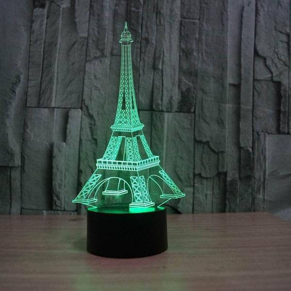 Eiffel Tower - 3D Optical Illusion LED Lamp Hologram