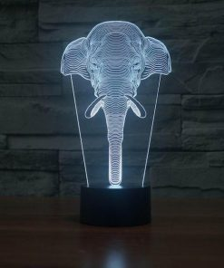 Elephant Face - 3D Optical Illusion LED Lamp Hologram