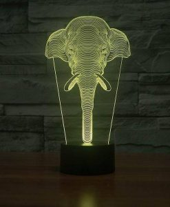 Elephant Face - 3D Optical Illusion LED Lamp Hologram