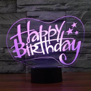 Happy Birthday - 3D Optical Illusion LED Lamp Hologram