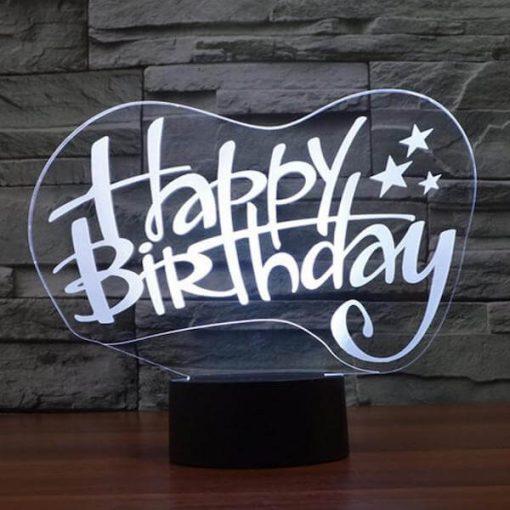 Happy Birthday - 3D Optical Illusion LED Lamp Hologram