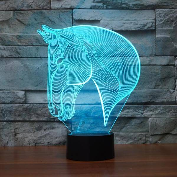 Horse - 3D Optical Illusion LED Lamp Hologram