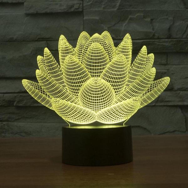 Lotus - 3D Optical Illusion LED Lamp Hologram