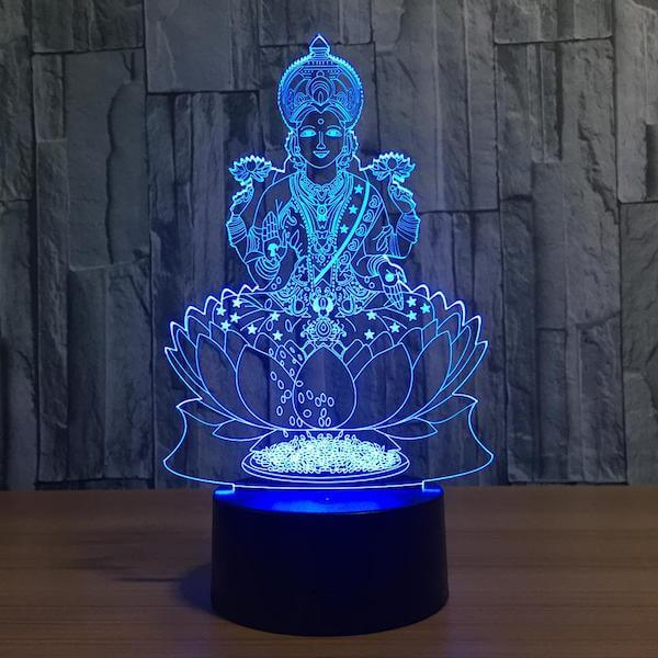 Lotus Buddha - 3D Optical Illusion LED Lamp Hologram