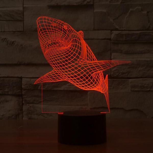 Shark - 3D Optical Illusion LED Lamp Hologram