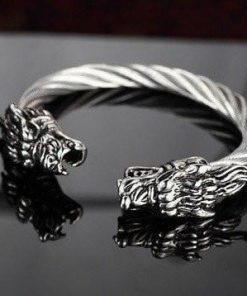 silver stainless steel twisted cable dragon open bangle bracelet