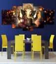 sitting-posture-ganesha-5-pieces-canvas-painting