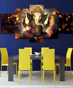 GANESHA 5 PEICES CANVAS PAINTINGS