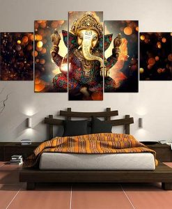 sitting posture ganesha canvas painting for bedroom