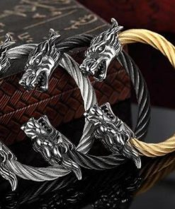 stainless steel twisted cable dragon open bangle bracelets