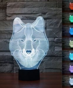 Wolf Face - 3D Optical Illusion LED Lamp Hologram
