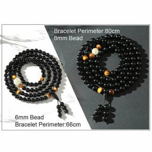 108 Black Onyx Mala Beads Luminous Dragon Bracelet - 8mm / 6mm