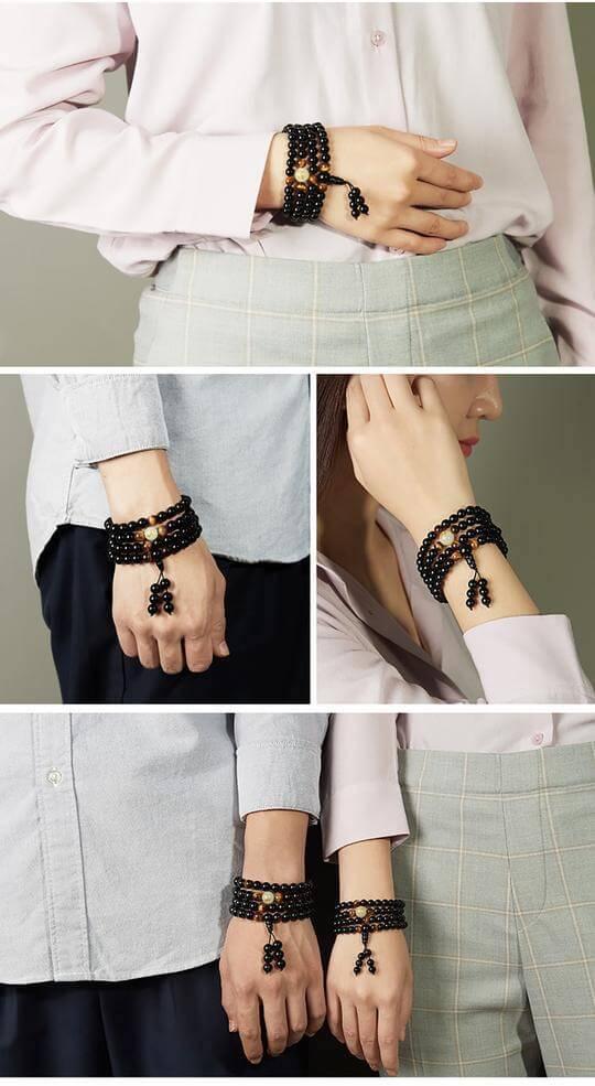 108 Black Onyx Mala Beads Luminous Dragon Bracelet - 8mm / 6mm