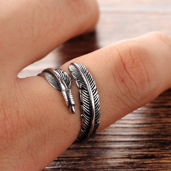 Adjustable Silver Navajo Carved Feather Ring On Hand
