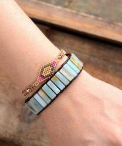 Bohemian Amazonite Leather Bracelet