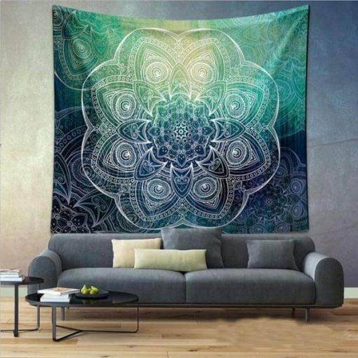 Mandala Green Ascension Tapestry