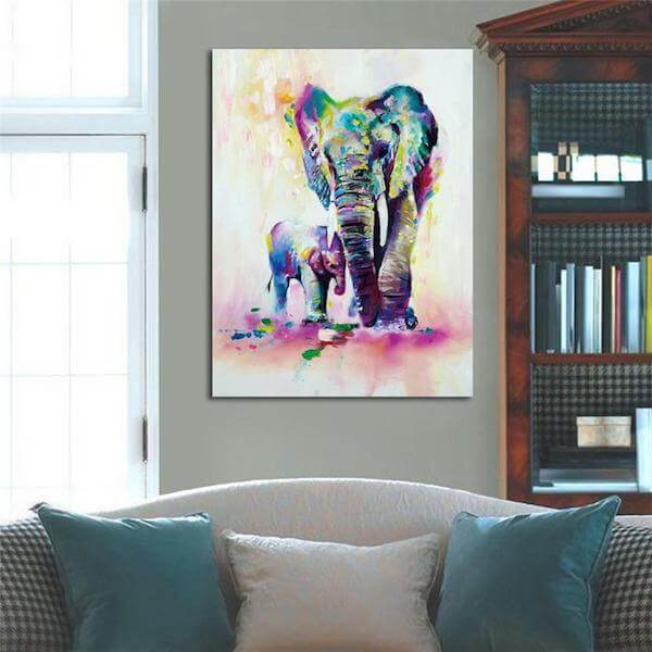 mother baby elephant oil canvas paintings