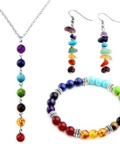 7 CHAKRA GEMSTONES JEWELRY SETS WITH BOX