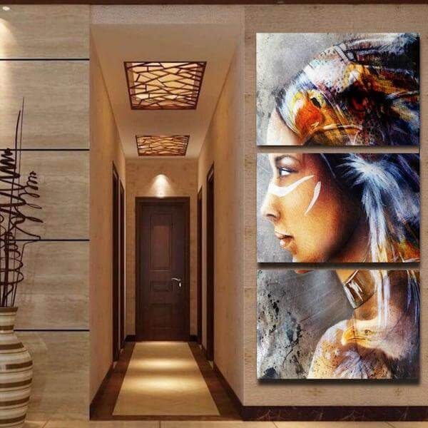 Native American Indian Woman Portrait Canvas Painting
