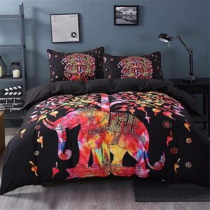 Black Elephant Tree of Life Bedding Set