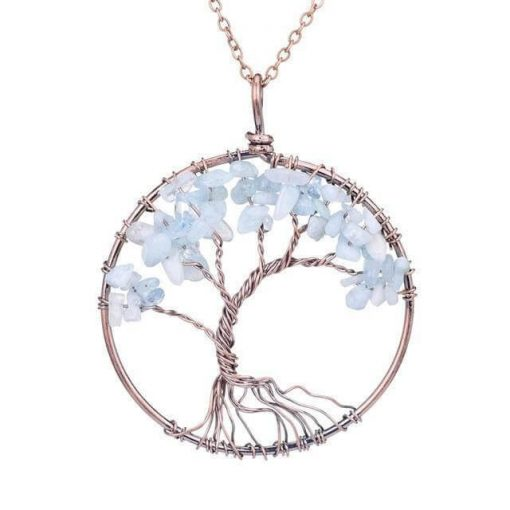 CHAKRA TREE OF LIFE NECKLACE WITH STONES