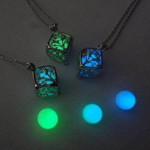 Glowing Cube Glow Locket Necklace