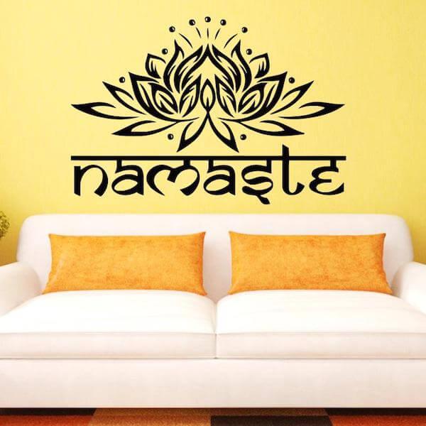 Indian Lotus Namaste Wall Decal