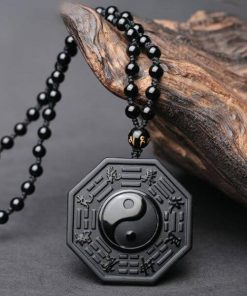 Black Obsidian Stone Yin Yang Pendant Necklace
