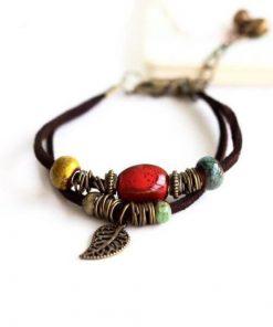 Bohemian Style Leaf Hippie Beads Ceramic Bracelet