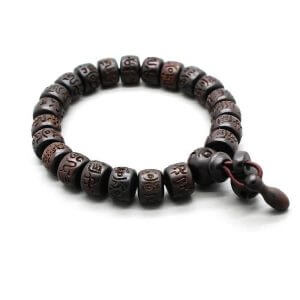 Hand Carved Wooden Buddhist Bracelet