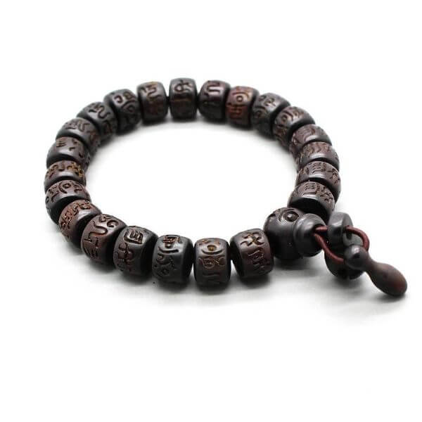 Hand-Carved Wooden Buddhist Bracelet