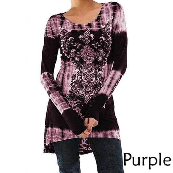 Bohemian Tie Dye Print Long Sleeve Tunic