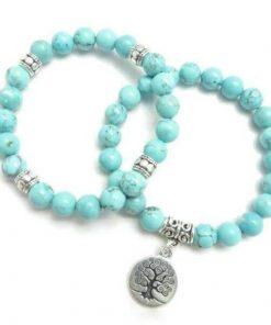 Turquoise Tree of Life Double Bracelet
