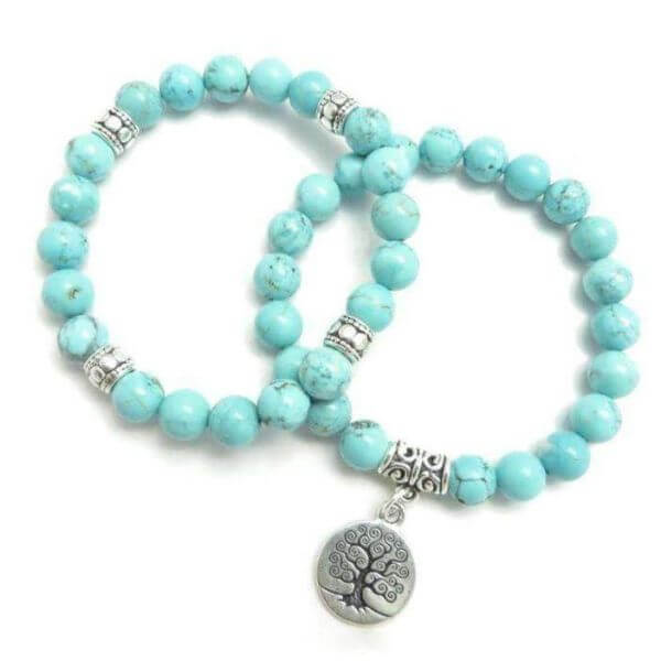 Turquoise Tree of Life Double Bracelet
