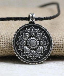 Antique Silver Om Mandala Pendant Necklace