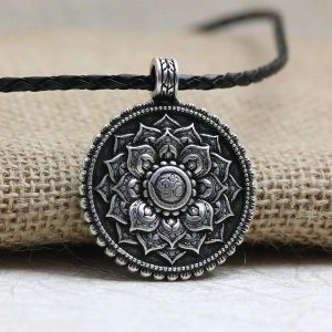 Antique Silver Om Mandala Pendant Necklace