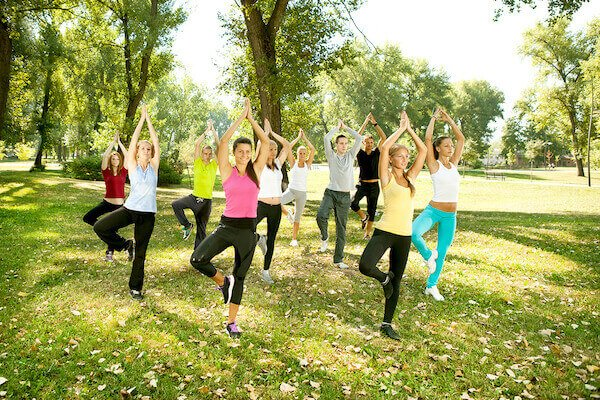 outside yoga class