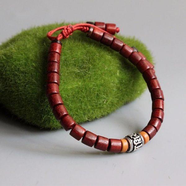 Mantra Bracelet withRed Sandalwood Mala Beads