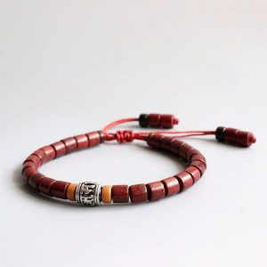Mantra Bracelet with Red Sandalwood Mala Beads