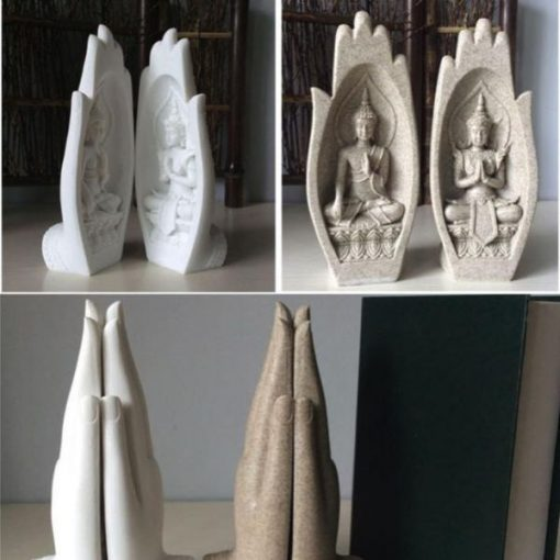 2-Piece Sandstone Prayers of Buddha Statue