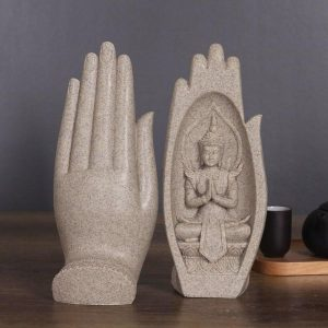 2-Piece Sandstone Prayers of Buddha Statue