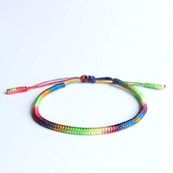 Adjustable Chakra Buddhist Knots Rope Bracelet   The Yoga Mandala Shop